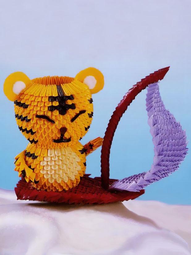 """""""Оригами тигр схема."""