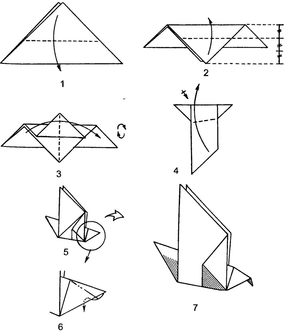 Как сделать из оригами птицу, хлопающую крыльями